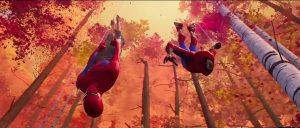 Gambar Peter B Parker dan Miles Morales yang sedang beraksi dalam Into the Spider-Verse