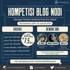 Poster Kompetisi Blog Nodi diunduh dari akun Twitter @nodiharahap
