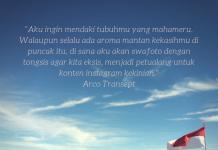 Gambar Mahameru yang ditulisi quote dari puuisi Arco - Berakhir Pekan bersama Arco